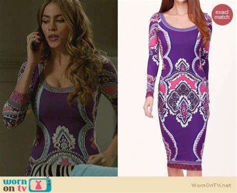 WornOnTV: Gloria?s purple printed long sleeved dress on