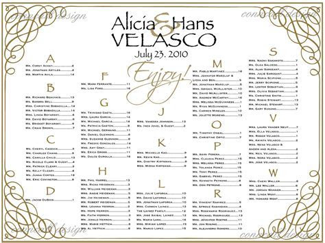 Seating Chart Templates For Wedding Reception