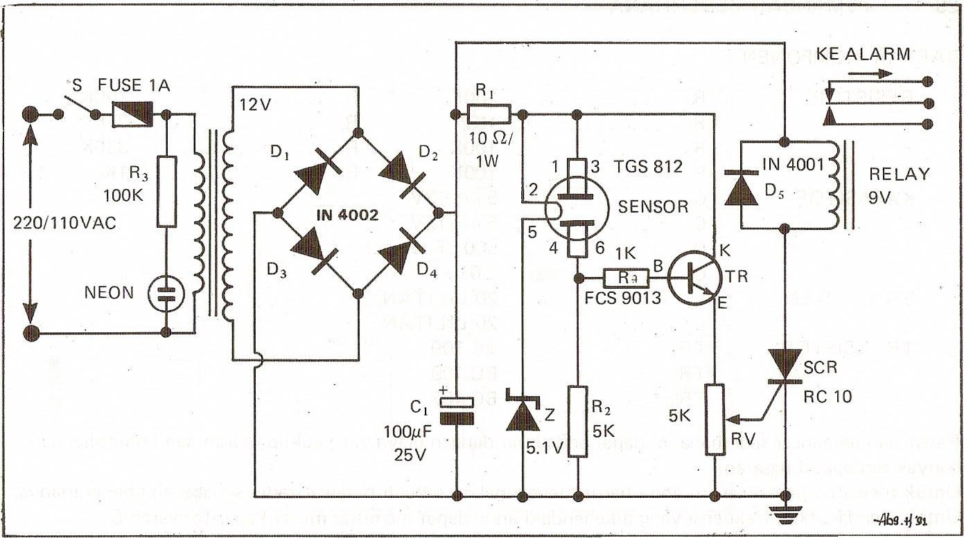 rangkaian detektor kebocoran gas   layout pcb