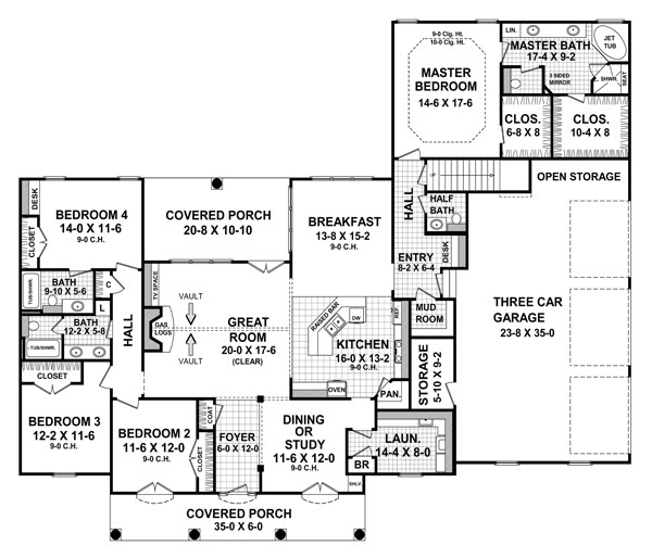 New House Plan HDC-2755-1 is an Easy-to-Build, Affordable 4 Bed ...