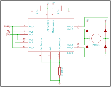 Paralleled L298 circuit for high current applications