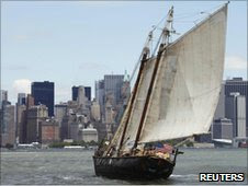 """Sailor Reid Stowe sails his 70 ft. gaff-rigged schooner """"Anne"""" into the New York Harbor"""