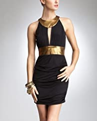 Gold Trim Keyhole Dress - bebe Addiction