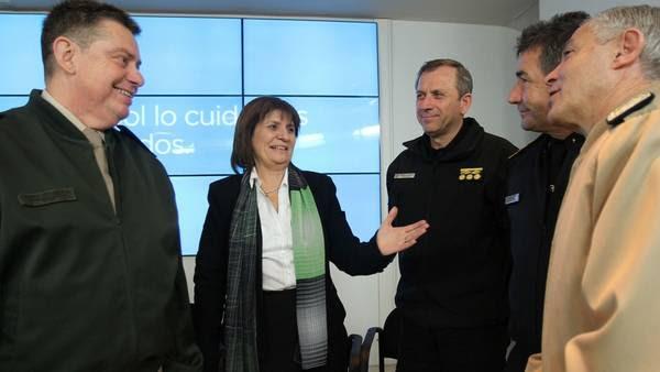 Patricia Bullrich, ministra de Seguridad, ayer, presentando el programa Tribuna Segura. Foto: DYN