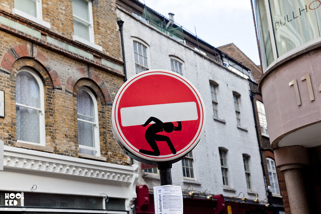 French street artist Clet Abraham's altered street sign spotted in East London.