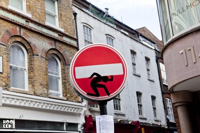clet abraham visits london hookedblog uk street art news