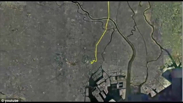 Seen from above, the GPS tracking leaves a trail wherever Yassa walks