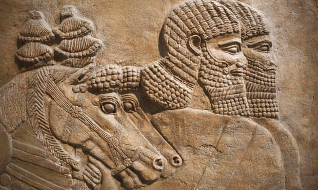 Detail of an Assyrian relief from Nimrud showing horses and horsemen of the royal chariot, 725 B.C.