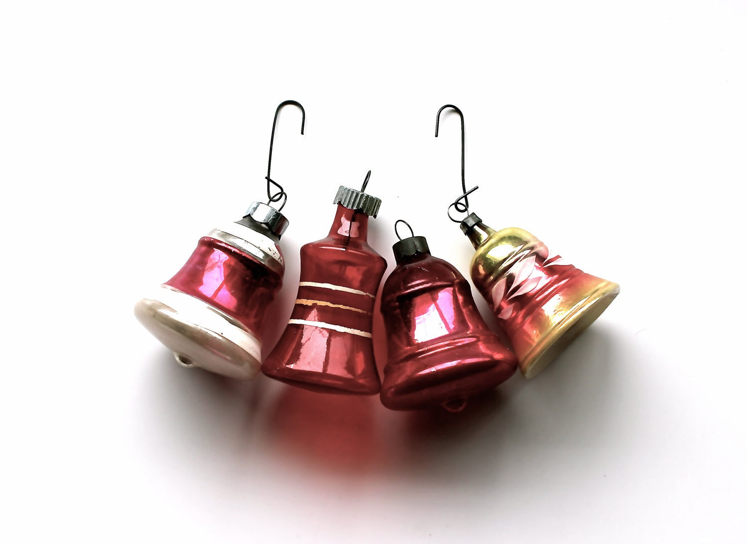 Carol of the Bells - Antique Mercury Glass Ornaments - Christmas - Holidays - Red - Pink - Silver - Shiny Brite - becaruns
