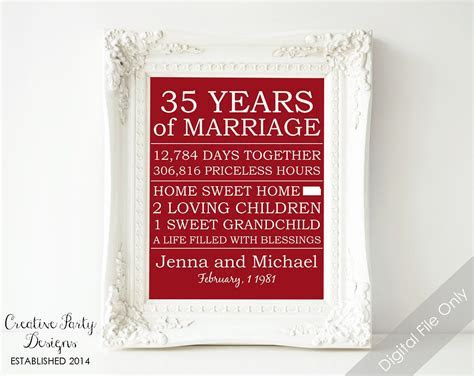 35th Anniversary Gift   Personalized Anniversary Gift for