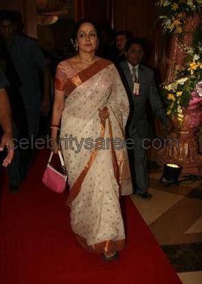 Hema Malini in White Chanderi Silk Saree   Saree Blouse