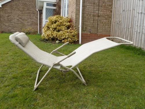 Uk Gardens Set Of Two Beige Garden Sun Lounger Chairs