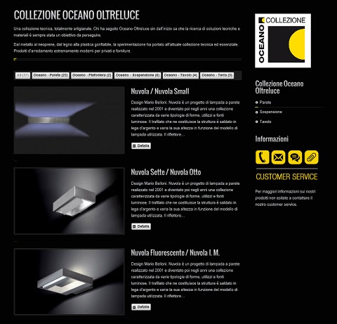 Nuovo sito Oceano Oltreluce: 3 collezioni di lampade italiane ecosostenibili.