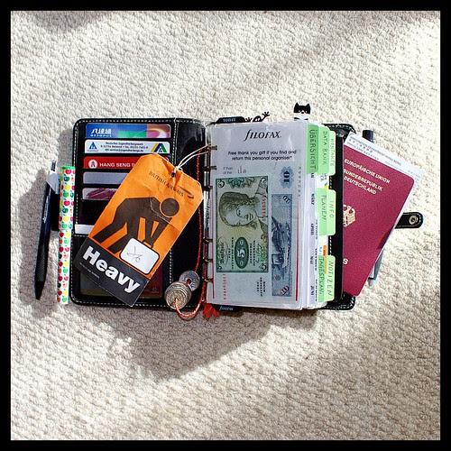 Overstuffed Filofax Ready for a Trip to Hong Kong