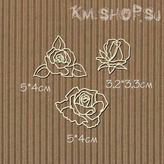 Чипборд Набор розы контурные