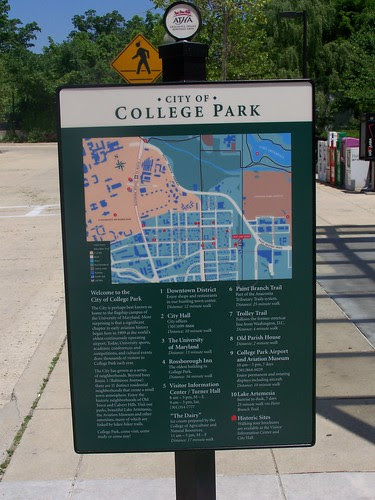 Wayfinding sign, College Park Metro