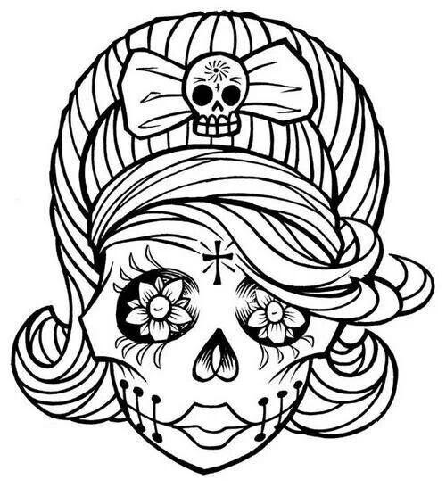 Sugar Skull Black And White Drawing At Getdrawingscom Free For
