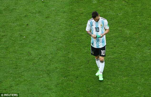Lionel Messi trudges off the field at the Kazan Arena after Argentina's 4-3 defeat by France