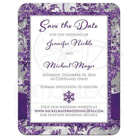 PHOTO Wedding Save the Date Card   Purple, Silver, White