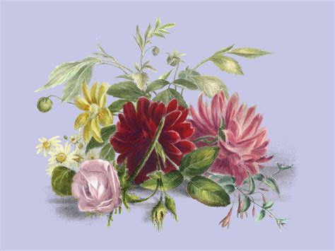 Colorful still life of flowers (1850), an arrangement of