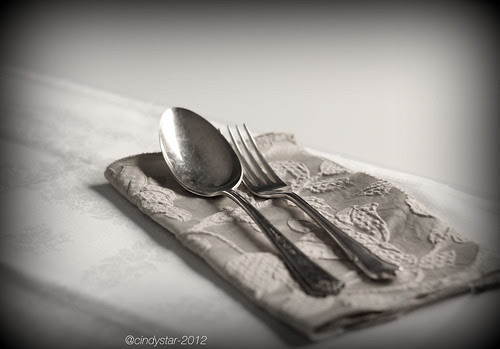 Old fashioned napking and silver cutlery