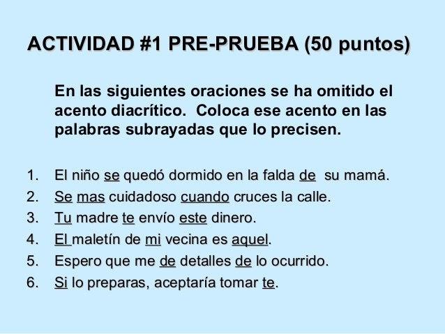 Ejemplos De Oraciones De Acento Diacritico Colección De Ejemplo