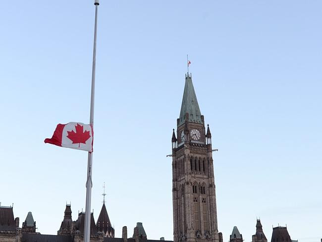 Remembering Nathan Cirillo ... the Canadian flag flies at half staff on top of the Peace