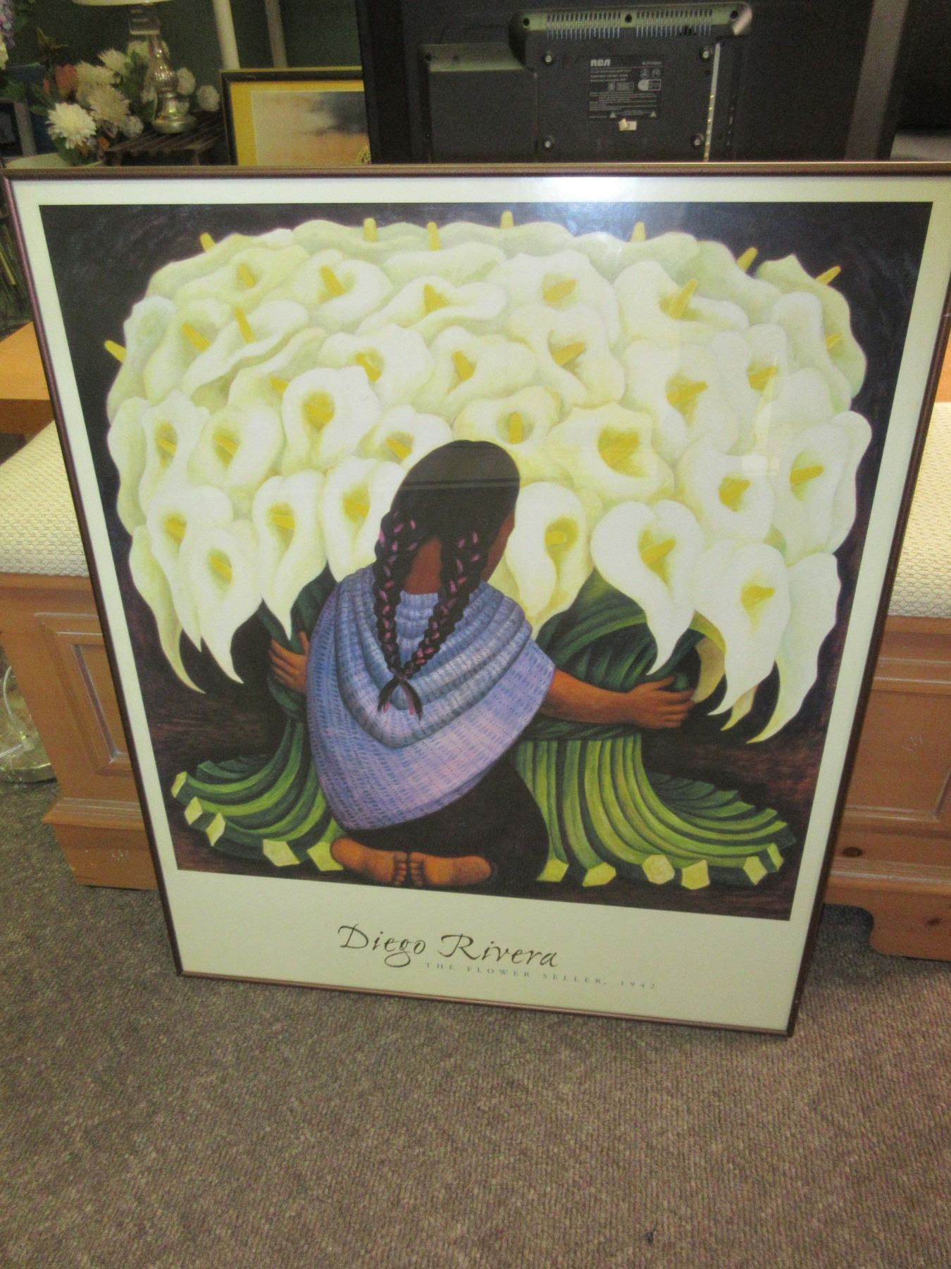 Diego Rivera The Flower Seller High Quality Frame 26 X 32