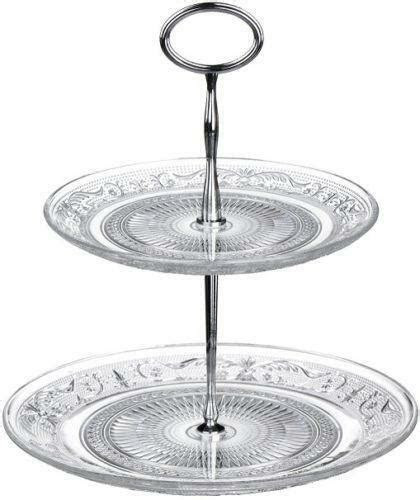 2 Tier Glass Cake Stand   eBay