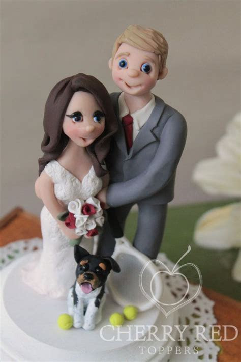 Wedding Cake Topper Figurines   Dog and Tennis Cake Topper