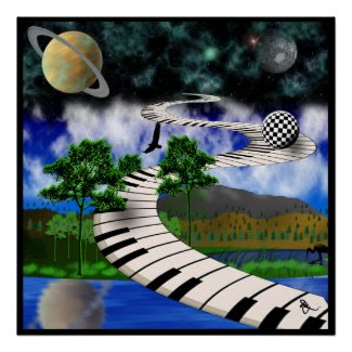 Surrealistic Keyboard Poster print
