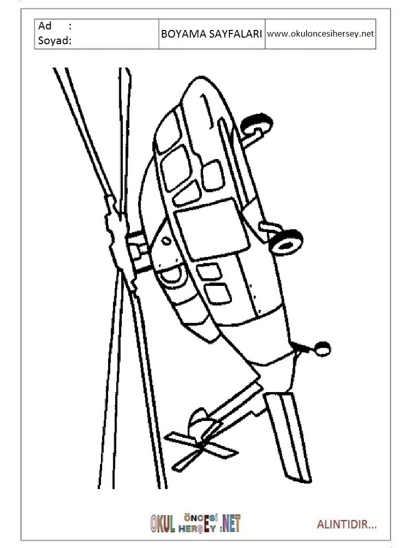 Helikopter Boyama Sayfaları