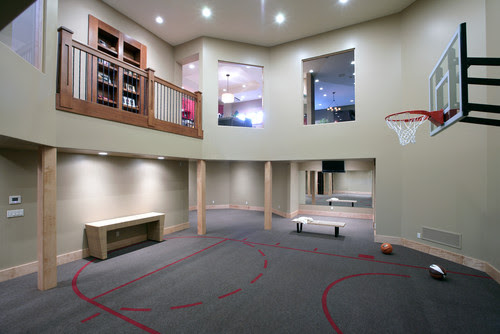 Really Cool Basement Interior Design Photos - Basement Basketball Courts and Gyms | Live Love in the Home