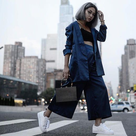 Le Fashion Blog Silk Blue Suit White Sneakers New York Fashion Week Via @ The Grey Layers