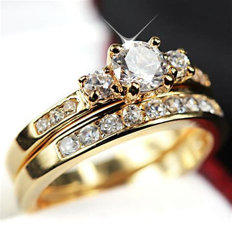 24K GOLD FILLED R223 TRILOGY SIMULATED DIAMOND WEDDING