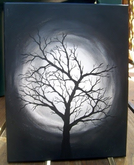 Introverted Painting: Black and White tree