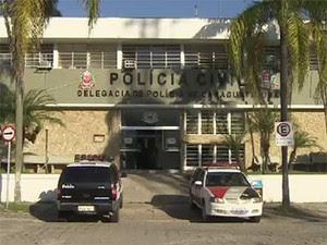 Polícia Civil Caraguatatuba, SP (Foto: Reprodução/TV Vanguarda)