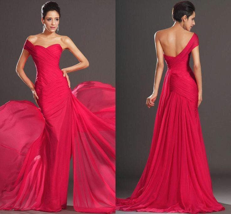 One shoulder formal evening dresses