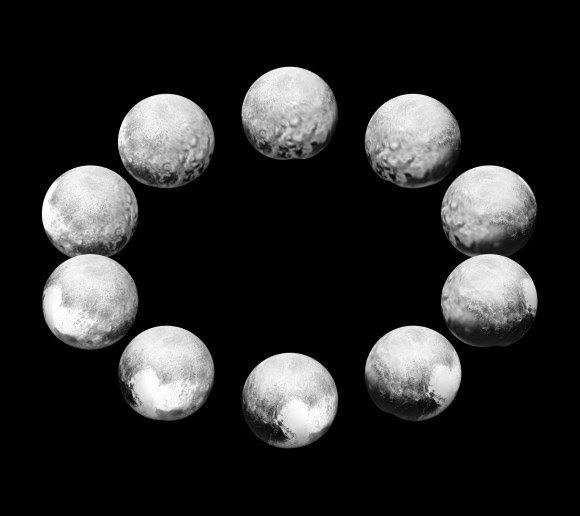 "On approach in July 2015, the cameras on NASA's New Horizons spacecraft captured Pluto rotating over the course of a full ""Pluto day."" The best available images of each side of Pluto taken during approach have been combined to create this view of a full rotation. Credit: NASA/JHUAPL/SwRI."
