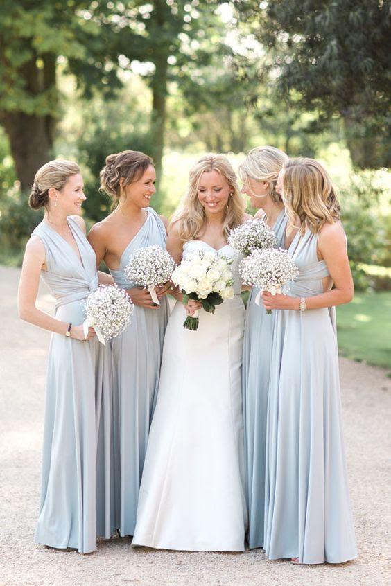 hellblaues ärmelloses und einer Schulter-Brautjungfern-Kleider