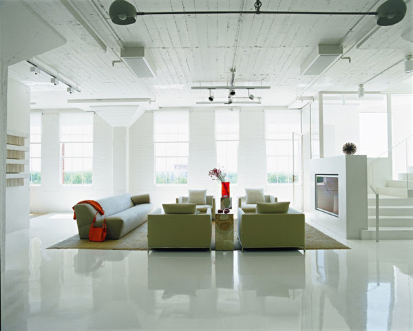 Loft Apartment Decorating Ideas: glossy floors and colorful ...