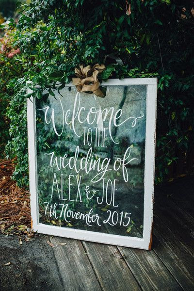 vintage mirror wedding welcome sign