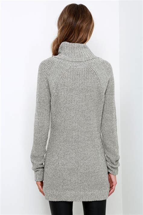 cute grey sweater long sleeve sweater cowl neck sweater