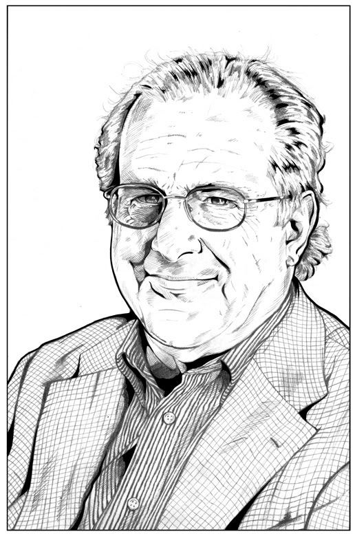 Pen and ink illustration of marxist economist Richard Wolff by Von Allan