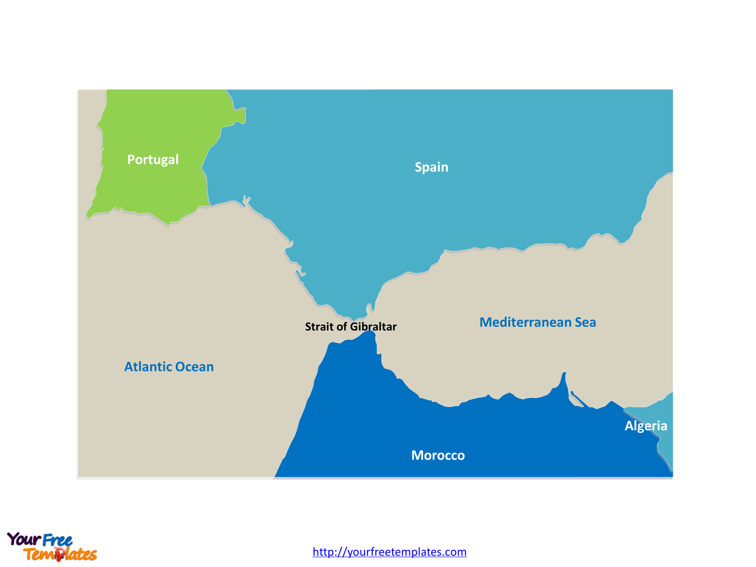 Free Strait of Gibraltar Editable Map - Free PowerPoint ...