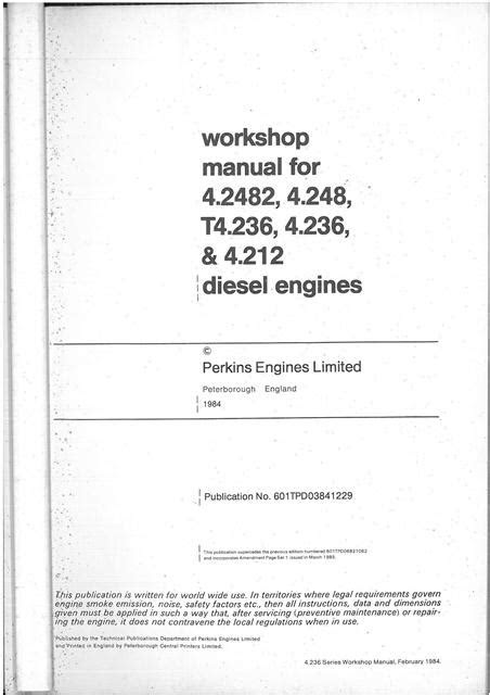 Perkins Diesel Engine 4.2482 4.248 T4.236 4.236 4.212 A4