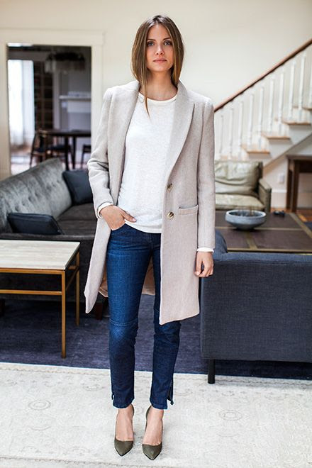 Le Fashion Blog -- Emerson Fry Neutral Classic Coat, White Long Sleeve Tee, Skinny Jeans & Green Heels -- photo Le-Fashion-Blog-Emerson-Fry-Neutral-Classic-Coat-White-Long-Sleeve-Tee-Skinny-Jeans-Green-Heels.jpg