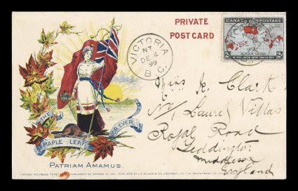 1898 2c Black, blue and carmine Imperial Penny Postage, pretty single tied to lovely post card with gorgeous multicolor patriotic design inscribed The Maple Leaf For Ever and Patrium Amamus (our love of home land), stamp tied by VictoriaB.C