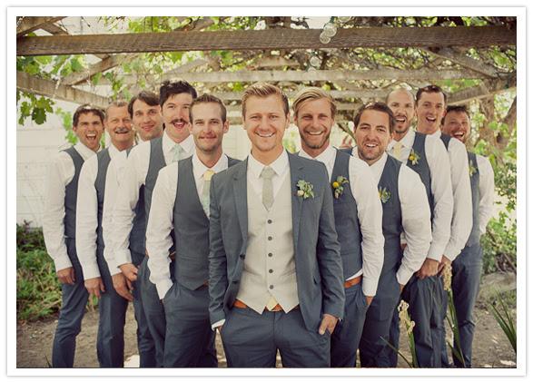groomsmen matching vests and homemade ties