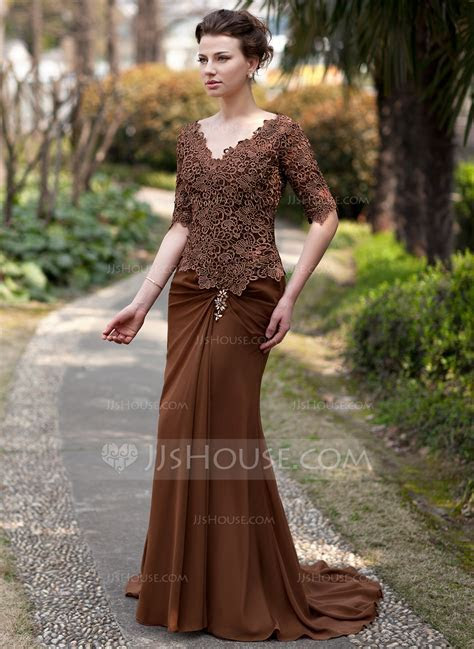 Trumpet/Mermaid V neck Sweep Train Chiffon Lace Mother of
